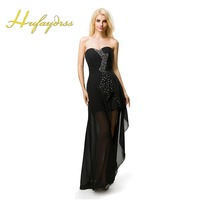 Black Prom Dresses Long 2017 Sweetheart High Low Beaded Simple Real Image Chiffon Evening Party Dresses
