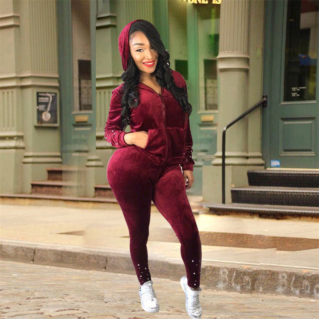 Pant Pearl Winter Tops Outfits Set Sweatsuit Two Piece Women Hoodie Velvet Autumn Suit Sweat Pq4URKwo