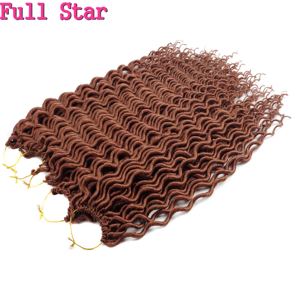 Full Star Deep Faux Locs 18inch 60g 24 strands Synthetic Hair Buldles Crochet Braid Hair Black Brown Blonde color 1-9 pcs