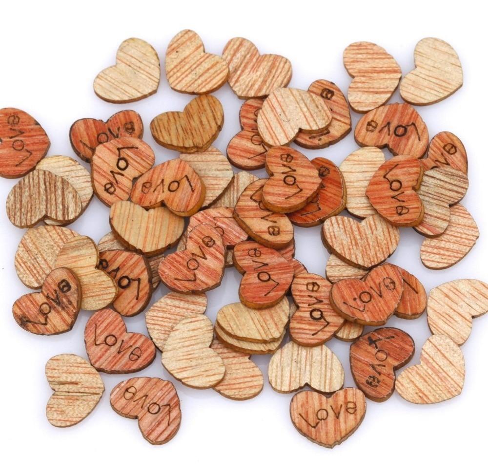 200pcs 12x10mm Heart Flatback Natural Wood Cabochon Beads For Needlework Scrapbooking Embellishments DIY Decorations Wholesale(China)