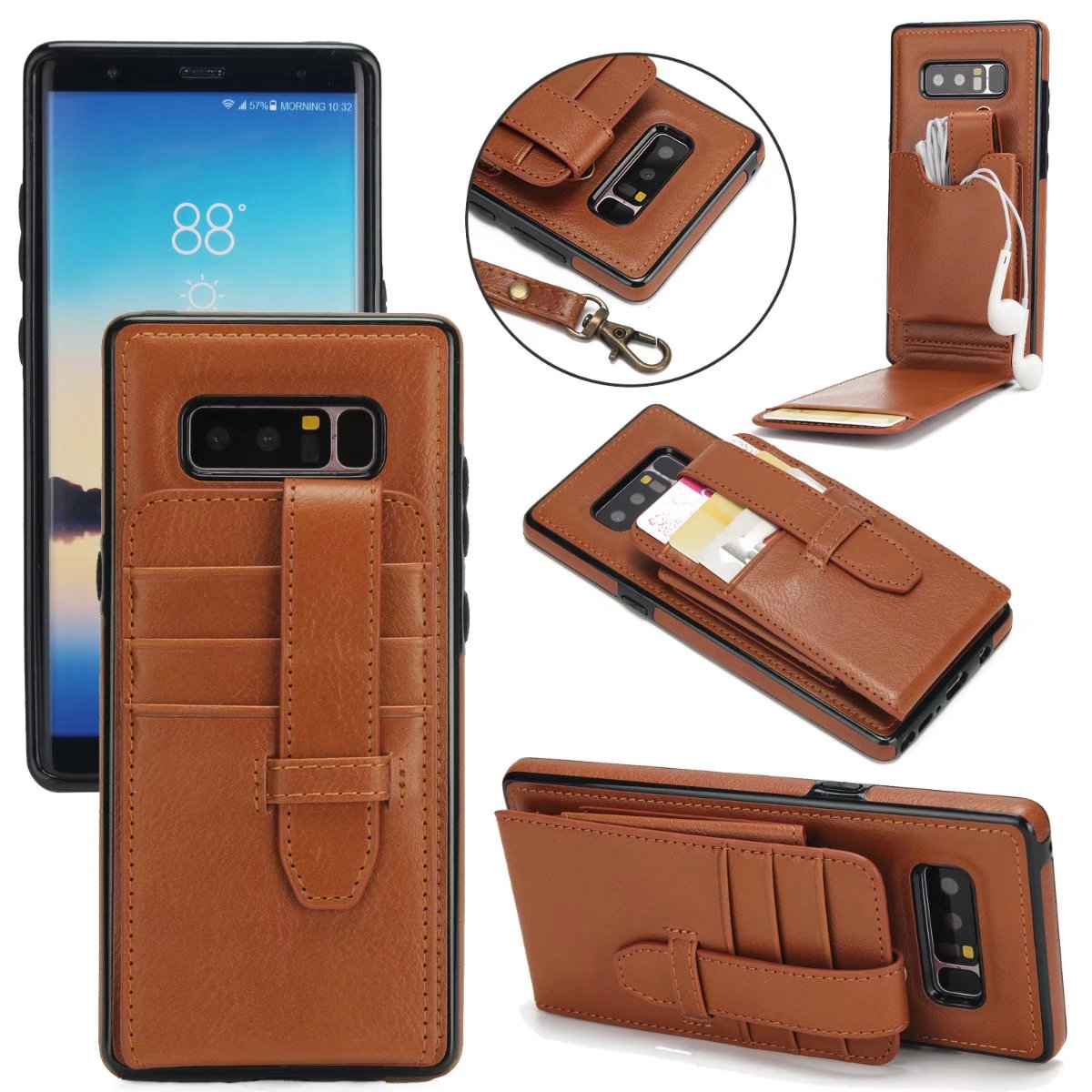Luxury Leather Flip Case for Samsung Galaxy Note 8 Wallet Book Cover 2-in-1 Vertical Flip for Samsung Note8 Phone Case Holder