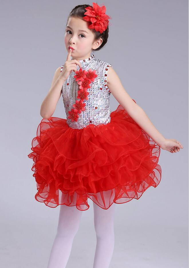 Нарядное платье принцессы для танцев для девочек; Детские бальные платья в стиле джаз и хип-хоп; бальная праздничная одежда; Одежда для девочек с блестками на Хэллоуин и Рождество - Цвет: Красный