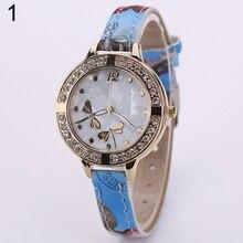 Hot Sales 2016 New Fashions Women's Cute Dragonflies Dial Fine Faux Leather Flower Band Quartz Wrist Watch
