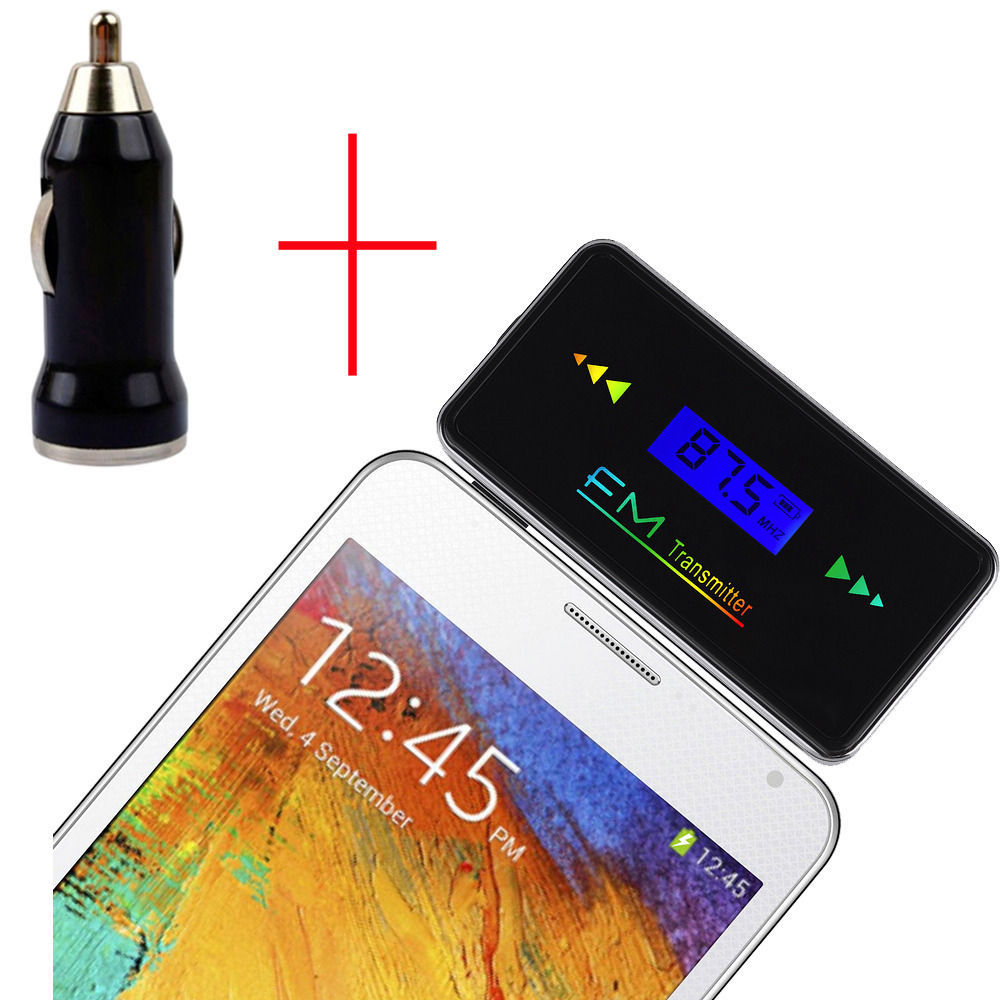 3.5mm FM Transmitter Car Charger Wireless Radio Adapter 4 Samsung Galaxy Note 4