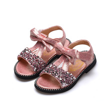 Summer baby Girls sandals Kids Children Sandal Kids Girls Shoes Sequined rhinestone princess beach shoes Silver Pink Black 3-15T rose pink red orange children princess shoes baby girls shoes kids bows rhinestone girls leather shoes kids party shoes 3 15t