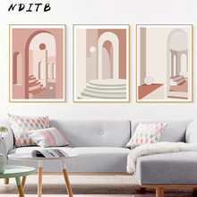 Geometric Building Abstract Art Canvas Poster Nordic Wall Painting Print Decoration Picture Living Room Scandinavian Home Decor