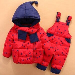 Image 3 - 2020 crianças para baixo conjuntos de roupas 2 pçs casaco + calças de inverno crianças roupas para baixo jaqueta ternos meninos & meninas com capuz outerwear terno