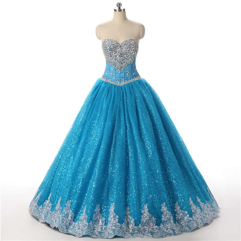 הגעה חדשה כדור שמלת Quinceanera שמלות 2020 נצנצים תחרה vestidos דה 15 anos כדור שמלת ballkleid מתוק 16 jurken מנטה