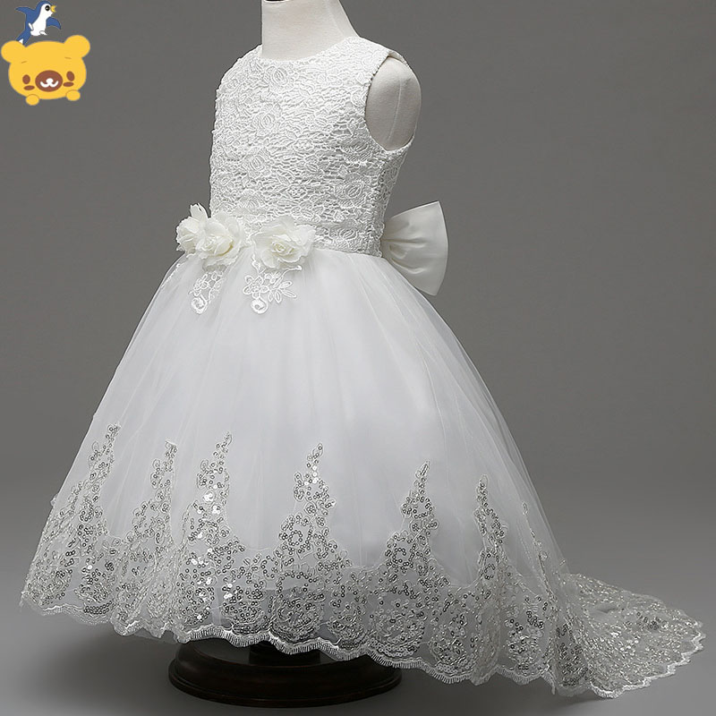new  Girls  sleeveless  Princess white  Party Dress   bow  Lace  wedding dress girl  long red dress free customs taxes super power 1000w 48v li ion battery pack with 30a bms 48v 15ah lithium battery pack for panasonic cell