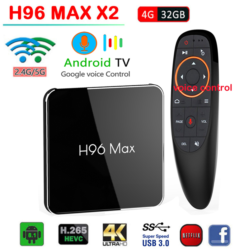 H96Max X2 Smart Android 8 1 TV BOX 4G 32G Quad Core 2 4G 5GHz Wifi
