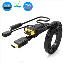HDMI to VGA Adapter with Audio 1080P Suply Power Male to Male 2M HDMI VGA Adapter for Monitor Projector TV Box HDMI Cable new vga svga 15 pin port saver vga adapter male to vga male d sub vga male to male monitor adapter wholesale aqjg