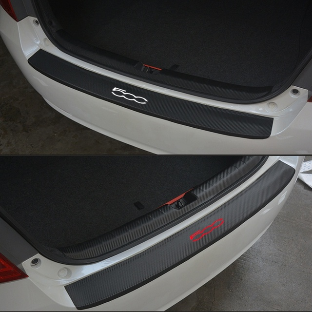 For Fiat 500 PU leather Carbon fiber Styling After guard Rear Bumper Trunk  Guard Plate Car Accessories