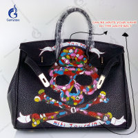 Multicolor Skull Rock and Roll Punk Skull Hand Draw Customize Purses Genuine Leather handbags bags for women 2018 Brand Design