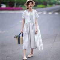 SCUWLINEN 2018 Summer Women Dress Vintage Striped Short Sleeve High Waist Pleated Loose Cotton Linen Dress Casual Long Robe W44