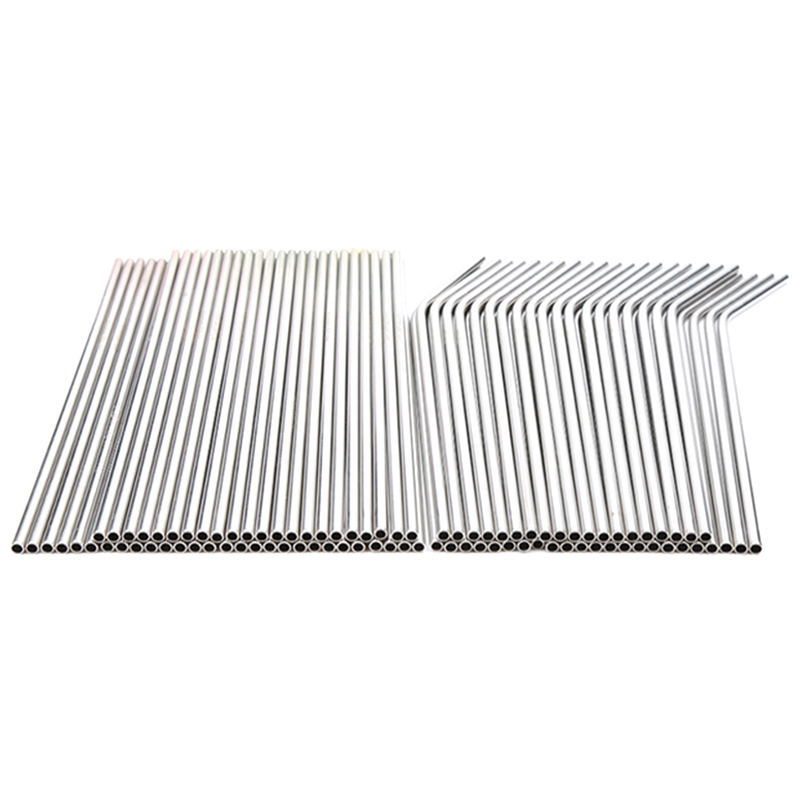Hot Sale 100pcs Metal Straws Can Be Reused 304 Stainless Steel Drinking Water Pipes 215 Mm x 6 Mm Curved Straws And 50 Straigh