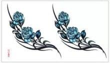 (Min Order $0.5) Temporary Tattoo For Man Woman Waterproof Stickers Makeup Maquiagem Make Up Blue Flower WM212