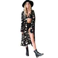 Summer Style Women Full Sleeve Floral Printed Long Kimono Cardigan Blusas Outerwear Casual Loose Sunscreen Blouse