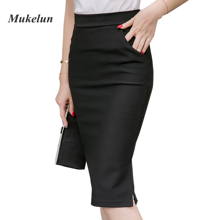 2018 Sexy Women Work Gown Slim Bodycon Summer High Waist Lommer Split Formell OL Office Ladies Black Plus Størrelse Blyantkjørt