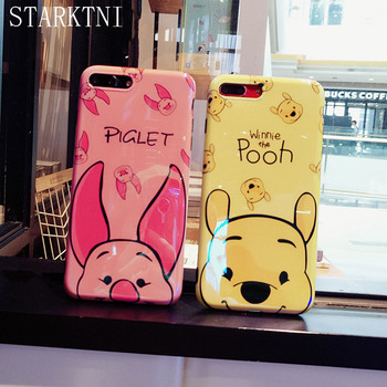 STARKTNI Cute Cartoon Winnie Pooh Pink Pig Case For iphone X 10 Blue Ray Soft TPU Cover Case For iphone 6 6s 7 8 Plus Funda Capa winnie the pooh iphone case
