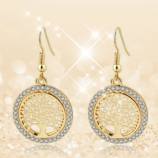 Gold Plated Crystal Dangle Earring With Tree Of Life Pendant