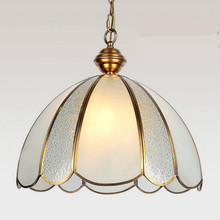 High End Post-modern Simple European All Copper Glass Led E27 Pendant Light For Dining Room Living Room Bar Dia 26/42cm 1246