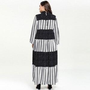 Image 5 - Kobiety Ruffles stanąć szyi kropki Maxi długie sukienki Vestidos z długim rękawem w paski łatka muzułmańskie Abaya strój islamski m 4xl