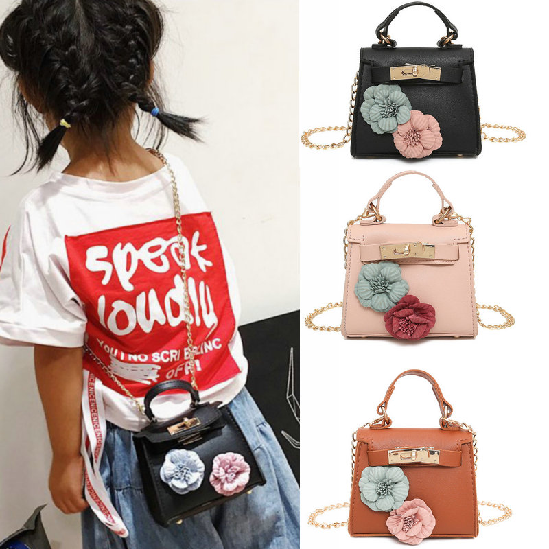 Cute Mini Bag Flowers Handbag For Children Cartoon PU Waterproof Shoulder Bag Kids Girls Fashion Messenger Bags Tassel Candy