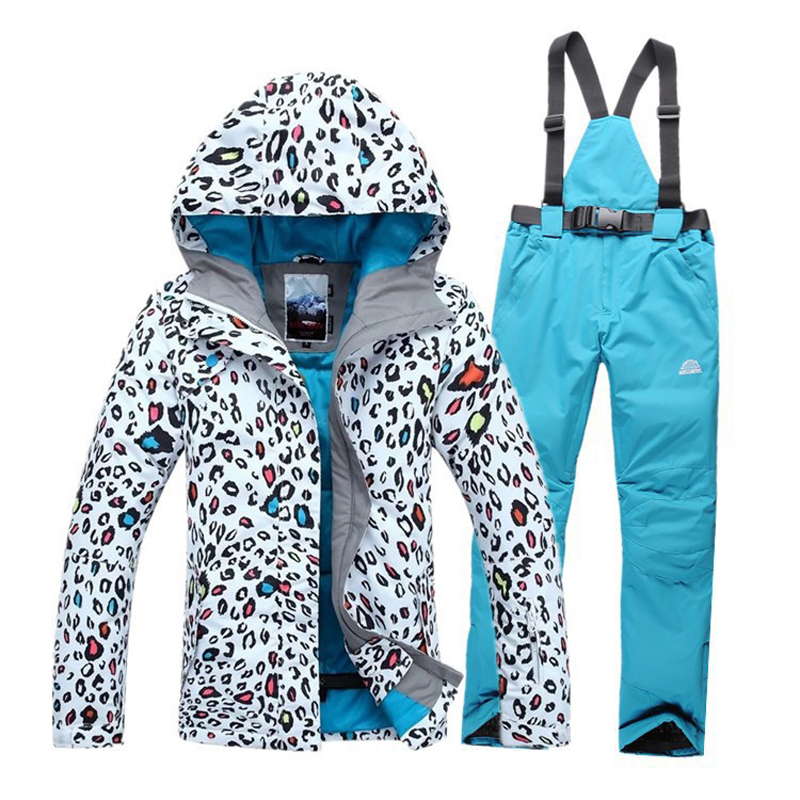 2017 High quality Women skiing jackets And Pants Snowboard clothes thick warm waterproof windproof  winter dress Leopard jacket