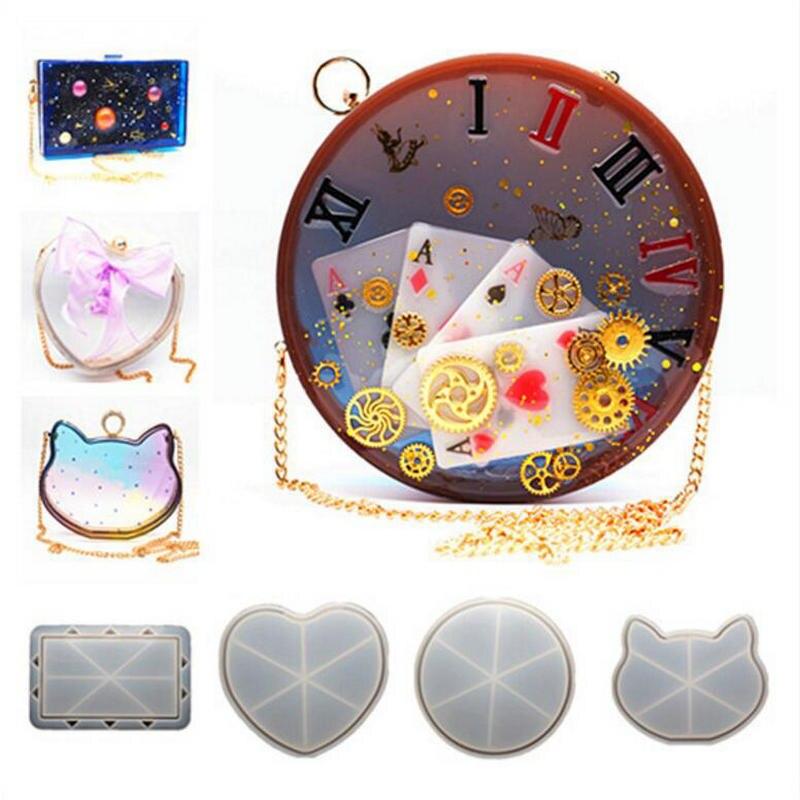 Résine coeur Shaker sac Silicone moule bricolage clair embrayage sac à main chat moules à la main en résine époxy artisanat femmes sacs rond moule outils