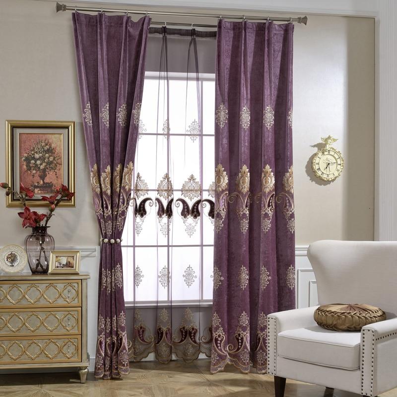 Purple Luxury Curtains Tulle for Living Room European ...