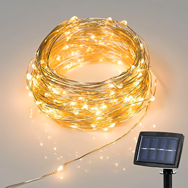 10M 100LED Solar Powered LED Kobber String Lights for Gardens, Homes, - Ferie belysning - Bilde 4