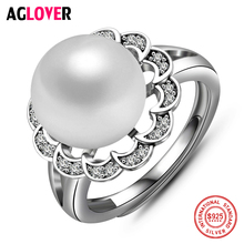 925 Silver Ring 10mm Freshwater Natural Pearl Charm Women Open 100% Sterling Female Jewelry