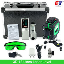 KaiTian 3D Зеленый 12 Линии Лазерный Уровень 360 Ротари Self выравнивание с помощью Лазерного Детектора и Наклона Слэш Функция Открытый Лазерного луч