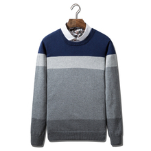 Autumn Men Tops O-neck Pullover Men Sweater Men Popular Clothes Mens Sweaters Newest Style Pullovers Cotton Striped Sweaters