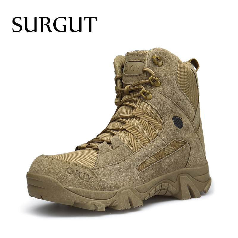 SURGUT Brand New Men Shoes Autumn Winter Men Boots Fashion Male Lace-Up Shoes High-Cut Men Casual Military Desert Tactical Boots white black 100
