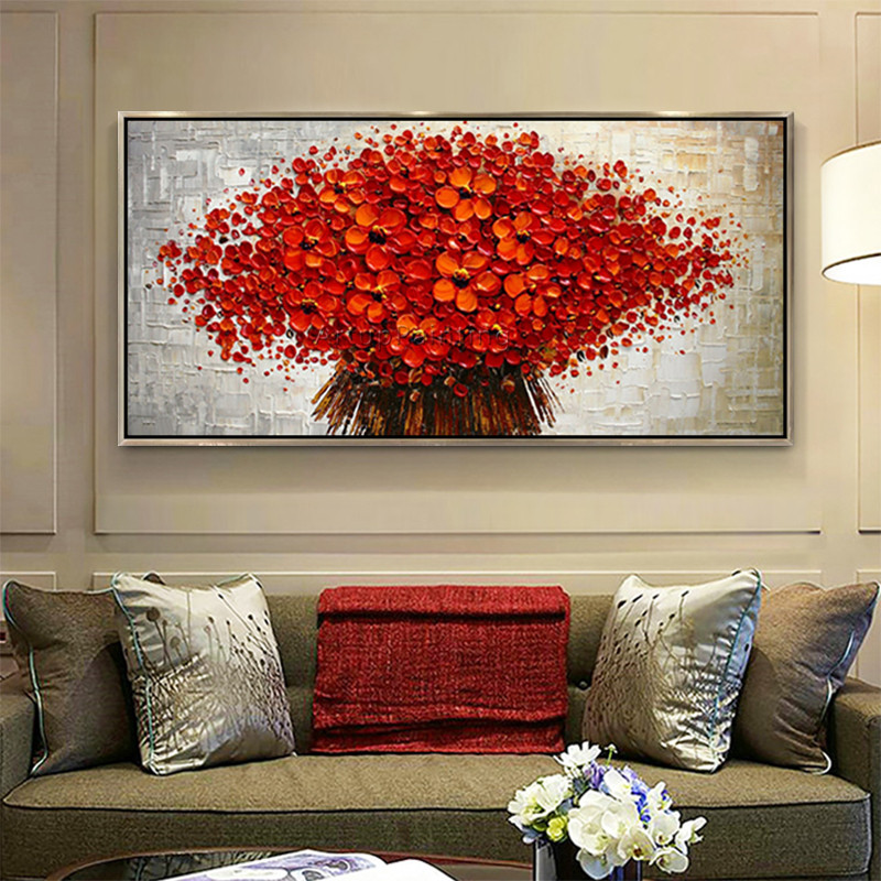 Canvas Painting palette knife 3D texture acrylic Flower painting Wall - Home Decor - Photo 3