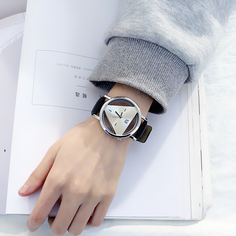 Watches Clock Novelty Black White Triangle Women Quartz Creative Hollow Fashion And Individualism