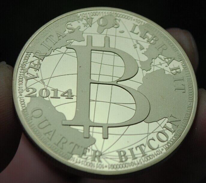 40 мм 2014 четверть физических биткойнов, позолоченная сувенирная монета, медаль