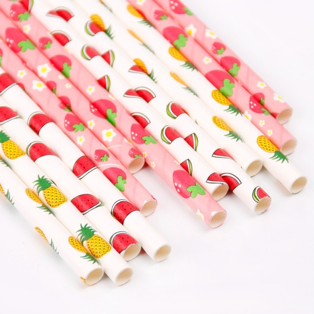 50pcs Paper Drinking Straws Stripe Polka Dot Party Wedding Decoration Kids Birthday Baby Shower Christmas Supplies Halloween