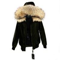 Водостойкая куртка бомбер с натуральным мехом енота с капюшоном зимняя куртка женская парка натуральная для женщин теплая толстая подклад