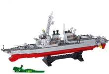 Sluban B0390 Army NAVY Warship Model Building Blocks Destroyer Plane  615PCS Carrier Bricks Toys Gift Compatible with Legoe
