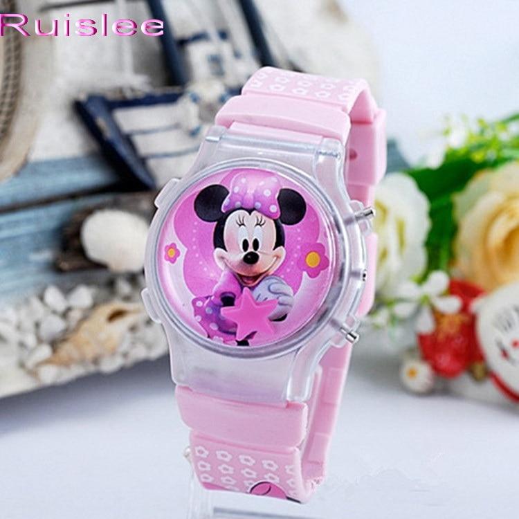 2015 New Fashion Boys Girls Silicone Digital Watch For Kids Mickey Minnie Cartoon Watch For Children Christmas Gift Clock Watch