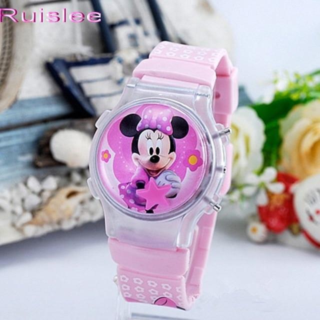 2015 new fashion boys girls silicone digital watch for kids mickey minnie cartoo