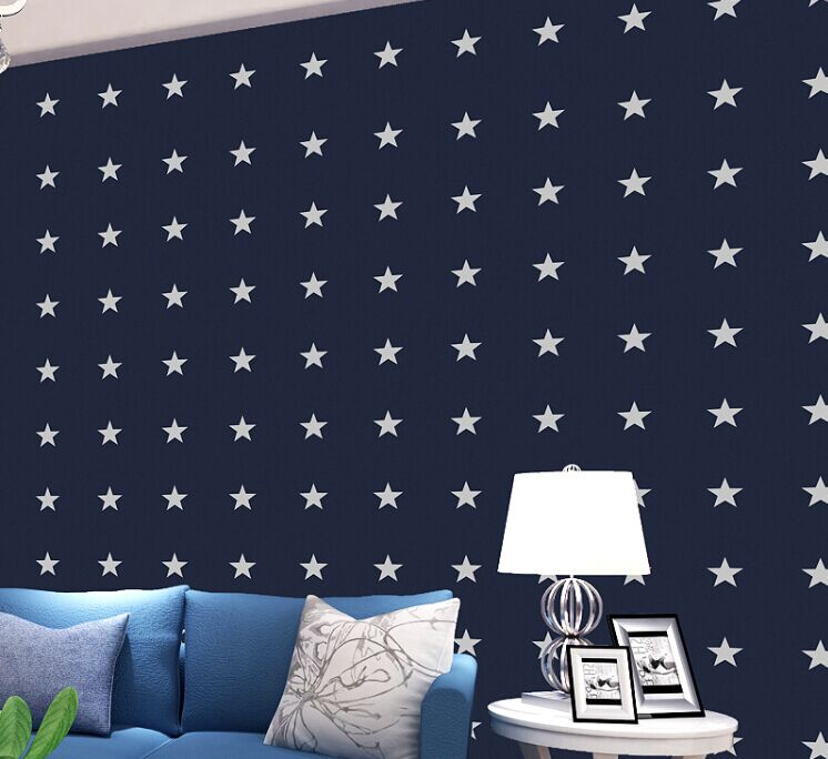 Creative Blue Star Non Woven Wallpapers Wall Stickers For Kids Rooms