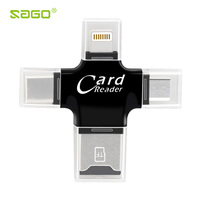 4 en 1 Lecteur de Carte Type C Micro usb adaptateur Micro SD Lecteur de carte Lecteur de Carte Foudre pour l'iphone 8/iPad Smart OTG Carte lecteur