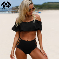 QIANG YI 2018 Summer Strapless Sexy Bikini Set Swimwear Women Swimsuit Female Hollow Bathing Suit High