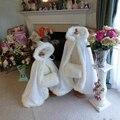 Flor Meninas Com Capuz Manto De Casamento Branco/Marfim da Pele Do Falso Guarnição longos Crianças Inverno Jakcet/Capes/Casaco/Wraps/Poncho