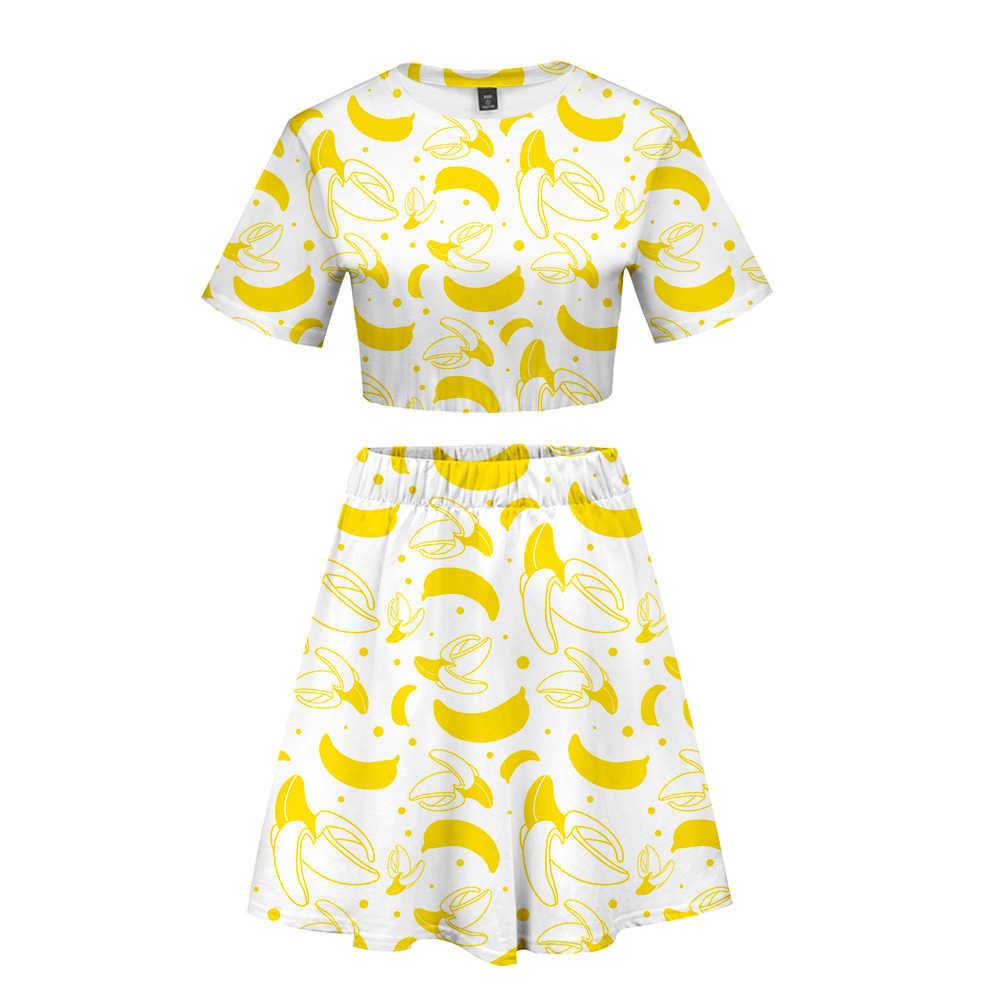 3D фруктовый женский укороченный топ, комплект из двух предметов, летнее платье Kpop, мягкое, хит 2019, в стиле хип-хоп, женское удобное белое платье, пикантная ткань 2XL