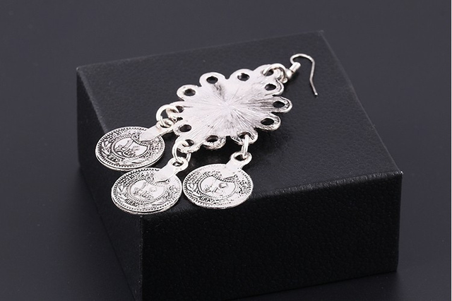 Vintage Silver Turkish Coin Earrings floral design Boho Gypsy Beachy Ethnic Tribal Festival Jewelry Turkish Bohemian Earrings 4