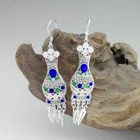 999 Sterling Silver Dangle Earrings 2019 Statement Earing Women Jewelry Cloisonne Enamel Vase Chinese Ethnic Handmade Jewellery